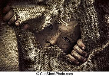 Artistic portrait of a poor little boy - Artistic portrait...