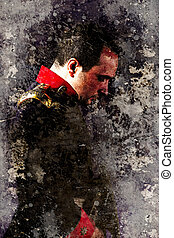 Artistic portrait of an old military uniform with textured...