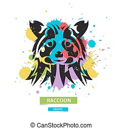 Artistic raccoon on the colorful blots background. Stylized graphic illustration. Vector wild animal.