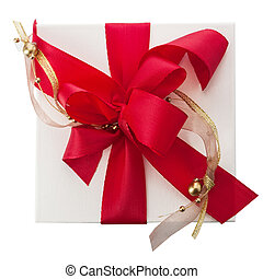 Artistic red bow with gold braid on a gift