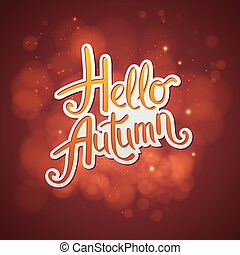 Artistic red Hello Autumn card design with scrolling script.