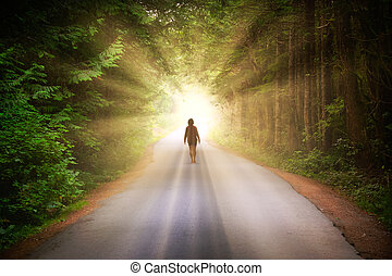 Artistic Render of a Girl Walking on a Road