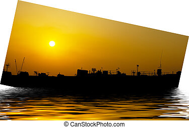 Artistic ship silhouette and sunset - Artistic ship...