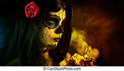 Artistic shot of sugar skull girl with dead roses - Artistic...
