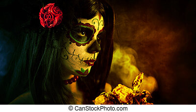 Artistic shot of sugar skull girl with dead roses, selective...