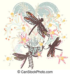 Artistic spring design for T-shirts with air balloon, florals and dragonfly
