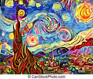 Artistic Starry Landscape City Scene