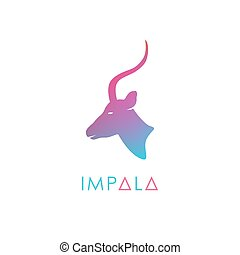 Artistic stylized antelope logotype. Silhouette wild...