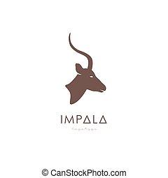 Artistic stylized Impala logotype. Antelope silhouette wild...