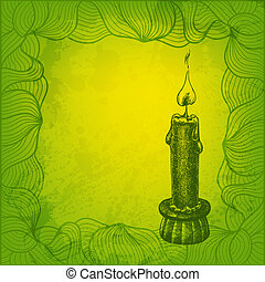 Artistic vector card with candle