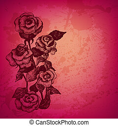 Artistic vector card with ink style roses