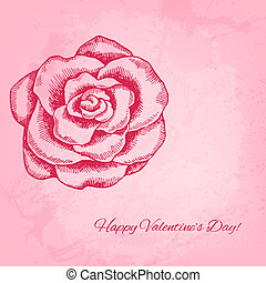 Artistic vector valentine background with ink style hand...