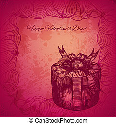 Artistic vector valentine background with ink style hand drawn decorative gift box with a bow