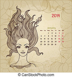 "Artistic vintage calendar for January 2014. ""Woman beauty"" series."