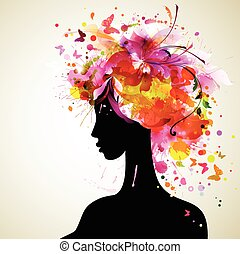 Artistic woman sillhouette design - Beautiful women with...