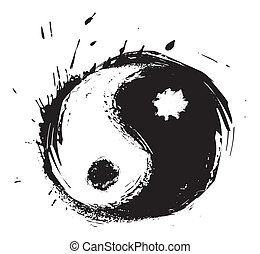 Chinese symbol of harmony created in grunge style
