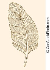 Artistically drawn, stylized, vector feather on a white background. Vintage tribal feather.