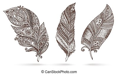 Artistically drawn, stylized, vector set of feathers