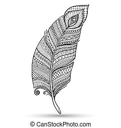 Artistically drawn, stylized, vector vintage tribal feather.