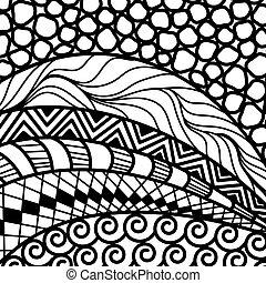 Artistically ethnic pattern. doodle, zentangle tribal design...