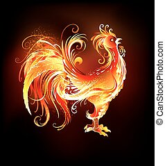 fire rooster - Artistically painted, bright fire rooster on...