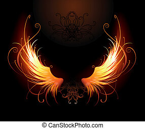 fiery wings - artistically painted fiery wings on a black ...