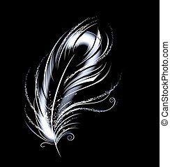 artistically painted, white, light, luminous feather on a black background