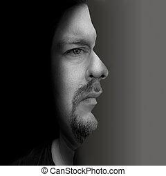artisticamente, foto, um, frente, retrato, portrayed, lado, homem