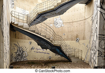 artistico, fondo, con, graffitis, e, scale