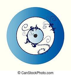 artistico, greco, blu, malocchio, vettore, illustrazione