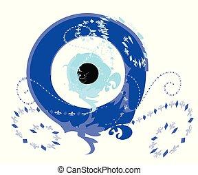 artisticos, azul, olho mal, vetorial, -, grego, olho mal, ilustração