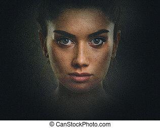 artisticos, escuro, retrato, de, mulher jovem, com, face bonita, e, olhos