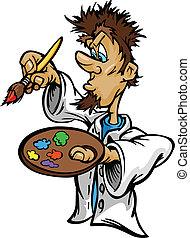 artisticos, pintor, com, escova, caricatura, vetorial, ilustração