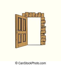 artistiek, deur, vector, open