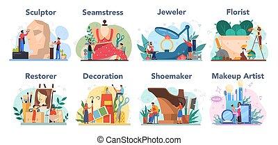 artistiek, opmaken, beroep, restaurateur, beeldhouwer, set...