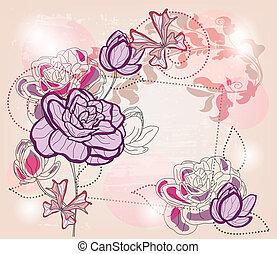 artistiek, samenstelling, met, rozen