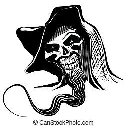 artistieke illustratie, schedel