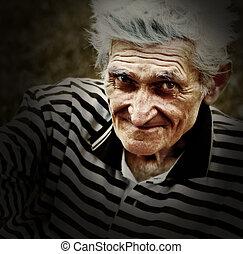 artistisk, årgång, stående, av, senior, gammal man