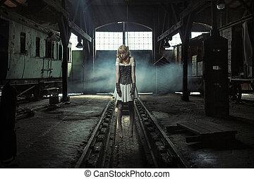 artistisk, bild, av, den, hängt, kvinna