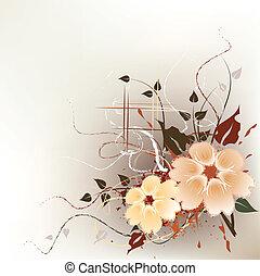 artistisk, blommig, bakgrund