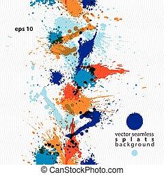 artistisk, färgrik, abstrakt, smutsa ner, bläck, mall,...