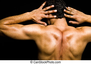 artistisk, pose, -, baksida, av, muskulös, man