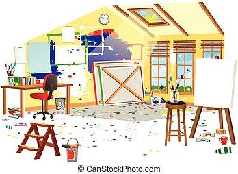 Artists attic - A cutaway illustration of an artists studio...