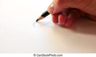 Artists draw a human pencil with a wooden pencil. 4k, slow...