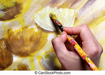 artist?s, ecset, kéz