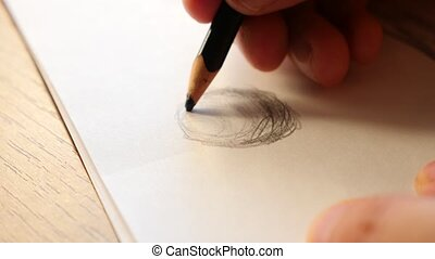 Artists hands drawing wooden pencil. 4k, slow-motion,...