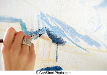 artist's, main, à, brosse, peinture, sur, toile