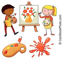 Artists painting on canvas illustration