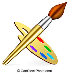 artist\\\'s palette and brush on white background. Bitmap...