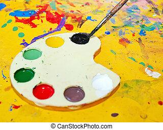 Artist's palette - Children's art palette and brush